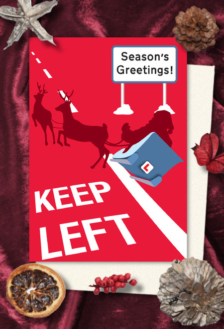 Keep Left Christmas cards pack of 8