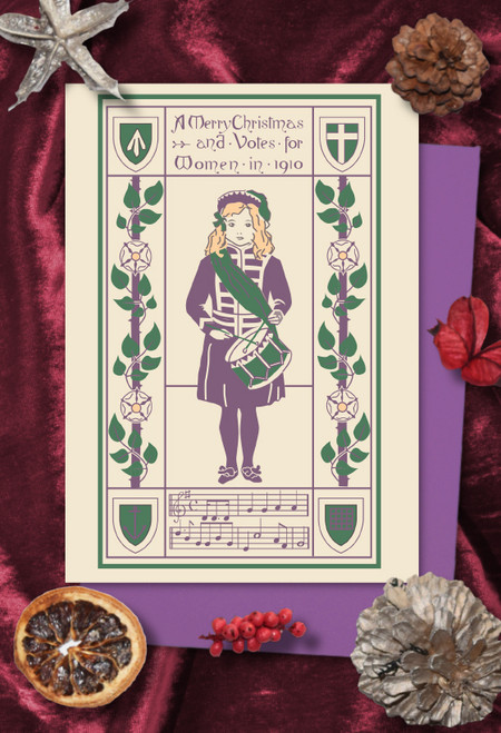 Suffrage Drummer Girl Christmas cards pack of 8