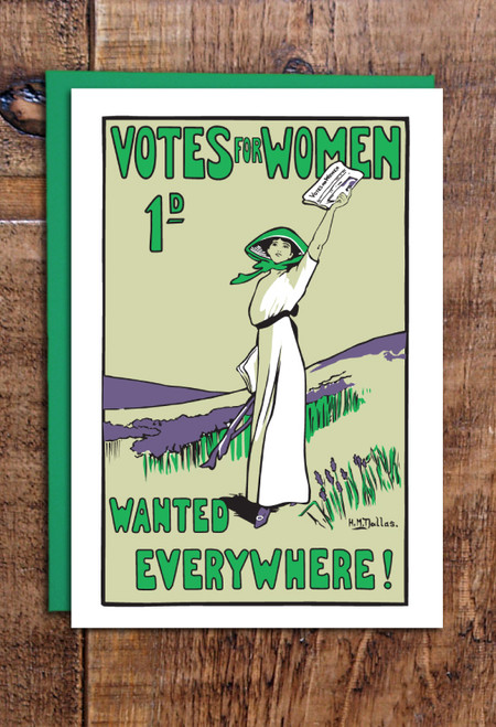 Votes for Women Wanted greetings cards