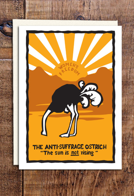 Anti-Suffrage Ostrich greetings cards pack of 8