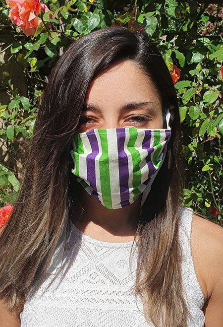Suffragette Stripes face mask with tapes (3 ply)