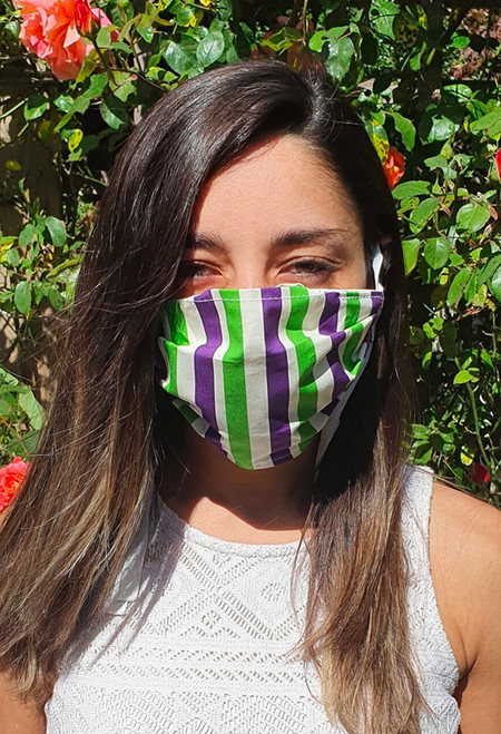 Suffragette Stripes face mask with elastic (3 ply)
