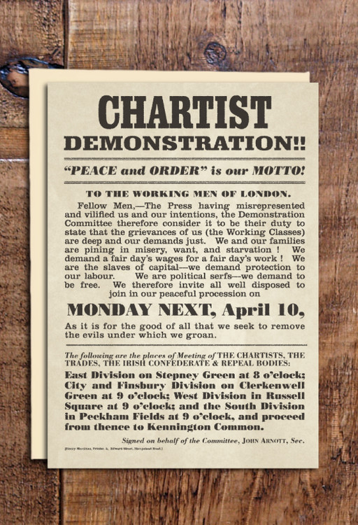 Chartist Demonstration cards pack of 8