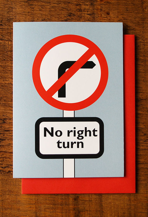 No Right Turn cards pack of 8
