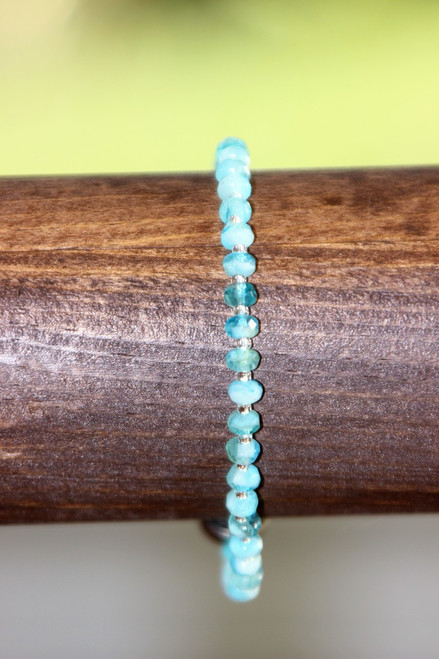 Bright Blue with Crystal Silver Spacers