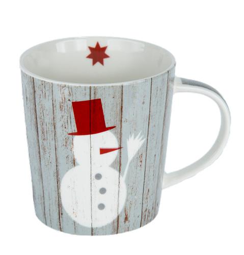 Snowman On Wood Mug With Gift Box