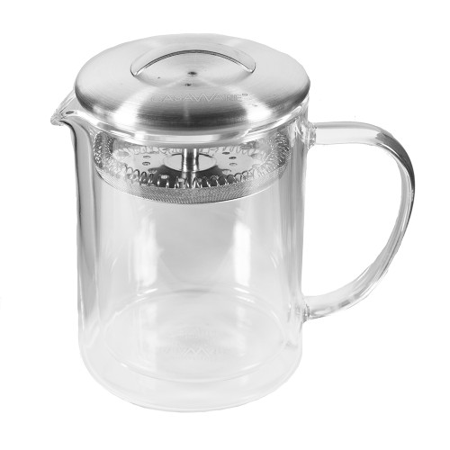 Glass Double Wall Teapot With Strainer