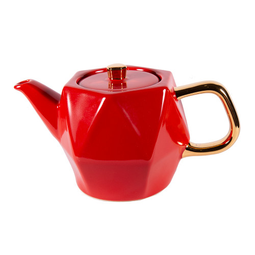 Hex Teapot - 24 oz - Red