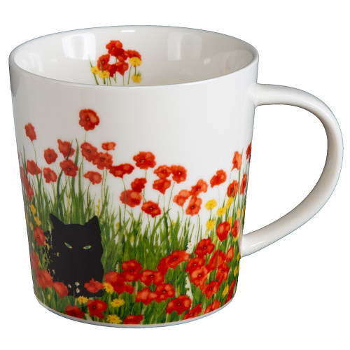 Cat In Poppies Mug With Gift Box