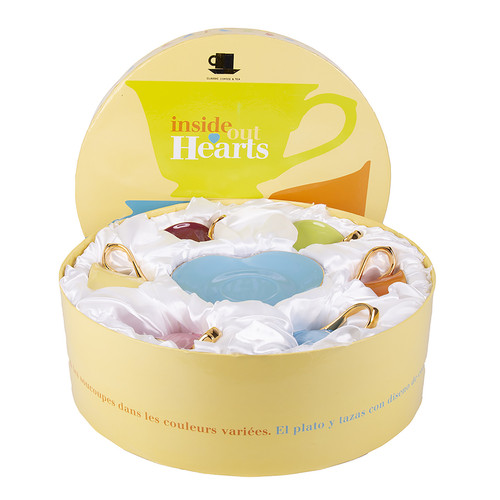 Set of 6 Inside Heart Cup and Saucer in Colors