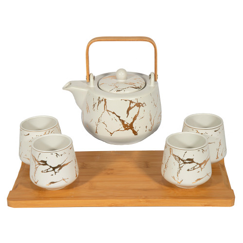 Marble Tea Set with Cups and Tea Tray