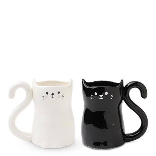 Black and White Cup Set, Cat Tails