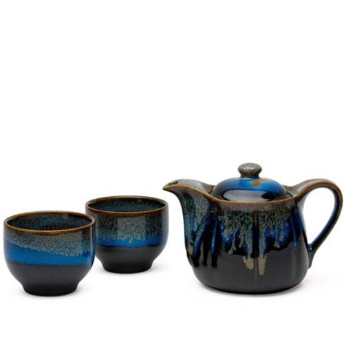Japanese Tea Set Blue& Black