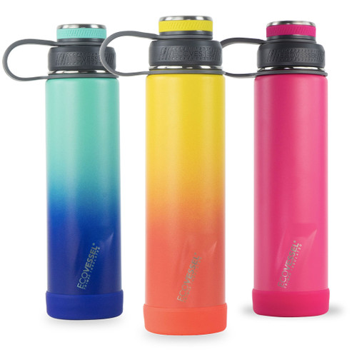 Boulder Ecovessel 24 ounce Insulated Bottle in Galactic Ocean, Rising Sun, and Jazzy Red