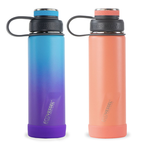 Ecovessel 20 ounce Insulated Bottle in Ombre Lavender Fields and Tropical Melon