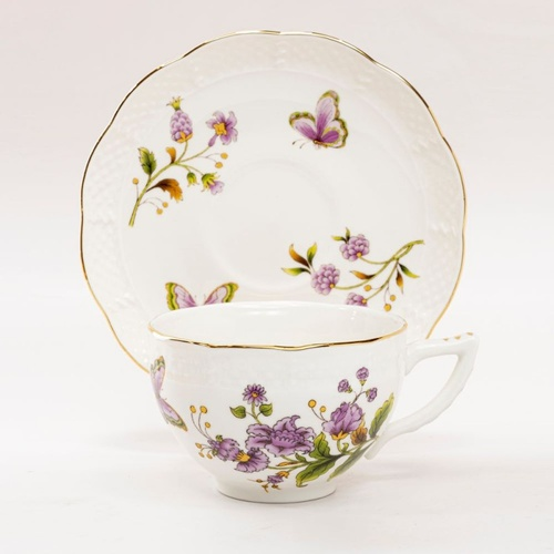 Purple Butterfly - Cup and Saucer Set