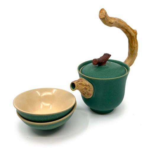 Twig Handle Teapot & 2 cups