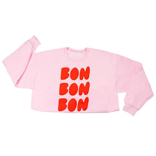 Pink cutie Sweatshirt with Bon Bon Bon text