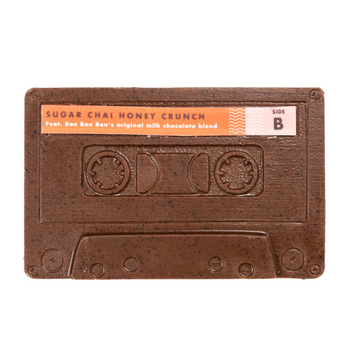 Chai, Sugar, Honey Crunch chocolate mixed together in a mixtape cassette mold