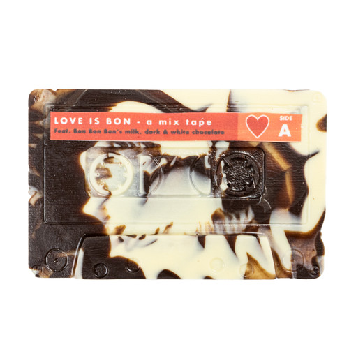 milk, white, and dark chocolate mixed together in a mixtape cassette mold
