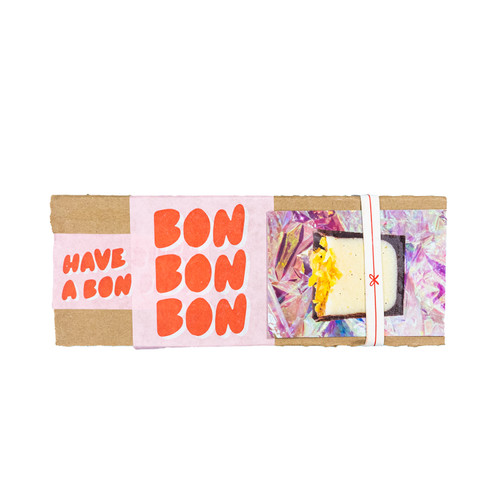 Packaging showing exterior of Extra Small Mystery Mix box of BonBons from Bon Bon Bon in Detroit, Michigan