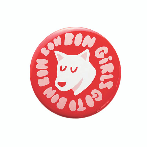 """Round, red, white and pink magnet with """"Bon Girls Go to Bon Bon Bon"""" text and a happy Lou dog"""