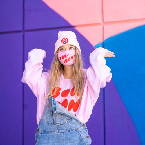 Pink Bonjour Face mask with Bon Bon Bon swag