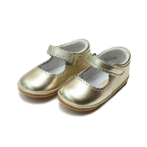 Angel Baby Shoes  Cara Scalloped  Gold  F202