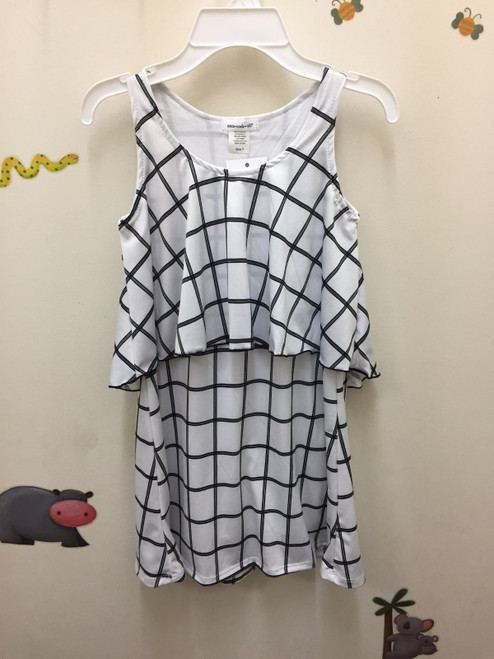 Area Code 407  Grid 2Tier Dress Lettuce Edge Hem
