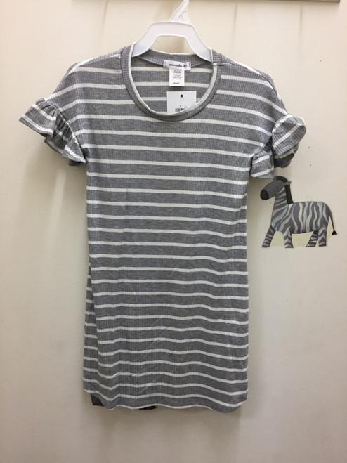 Area Code 407 Rib Stripe SS Ruffle Sleeve Dress