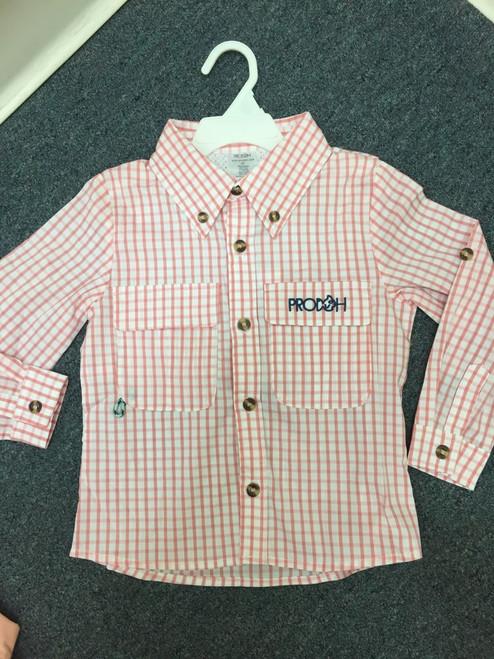 Prodoh Kids  Window Pane Shirt in Salmon Rose