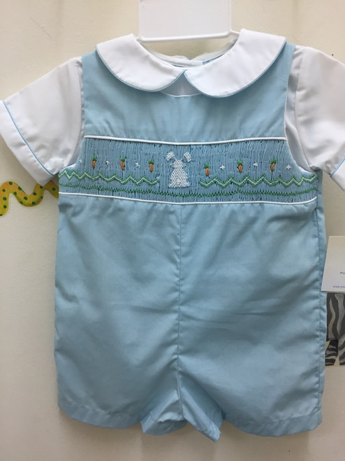 Petit Ami  Smocked Rabbit Easter Romper blue
