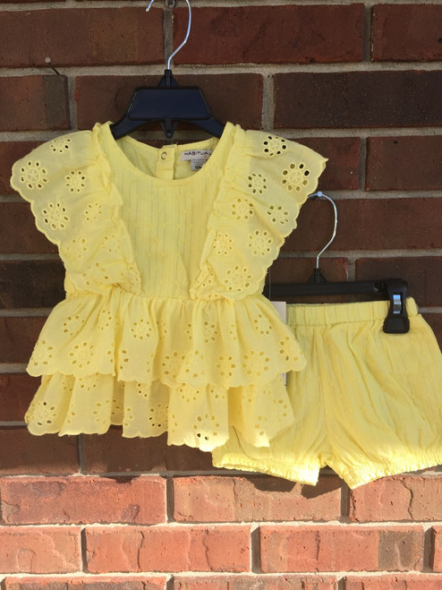 Habitual Girl  Amanda Eyelet Short Set    Yellow