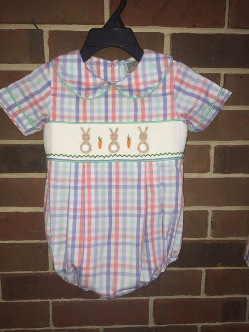 Honesty  Bunny Smocked Boys Plaid Bubble-Blue