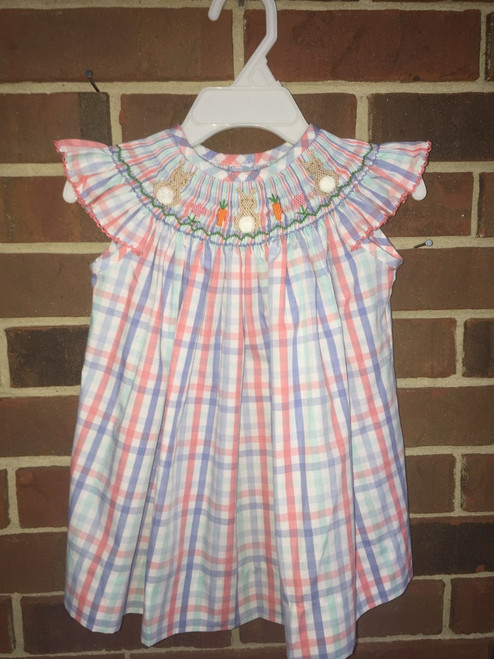Honesty  Bunny Smocked Plaid Bishop Dress