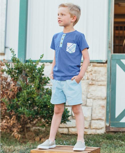 Ruffle Butts  Blue Pocket Henley Shirt