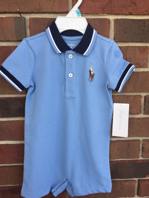 Ralph Lauren   Basic Mesh-Polo Romper  Blue