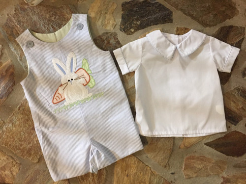 Reversible john-john bunny-frog with shirt