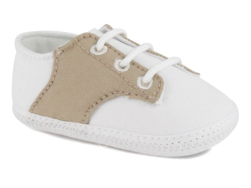 BRAXTON 2155 Infant White/Tan Cotton Crib Shoes