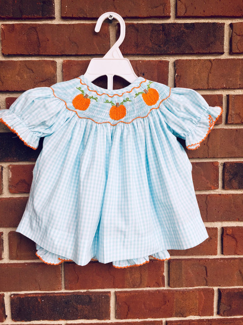 Honesty Pumpkin Smocked Bloomer Set