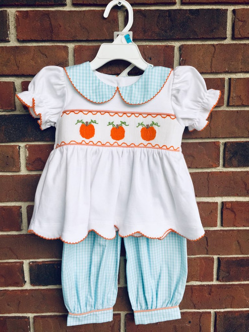 Honesty Pumpkin Smocked Girl Pant Set