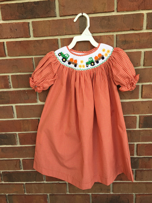 Mom & Me smocked tractor pumpkin dress