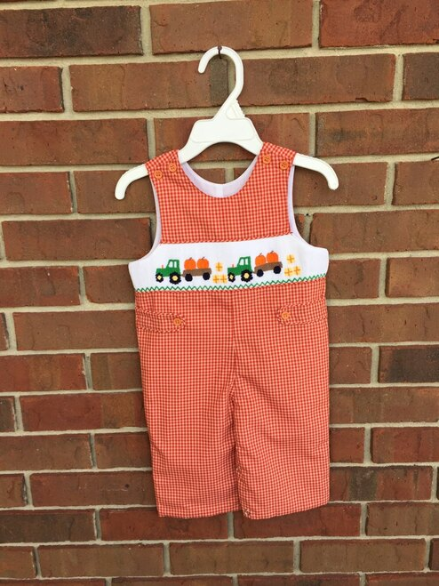 Mom & Me  Smocked Pumpkin Truck Jon-Jon  11157