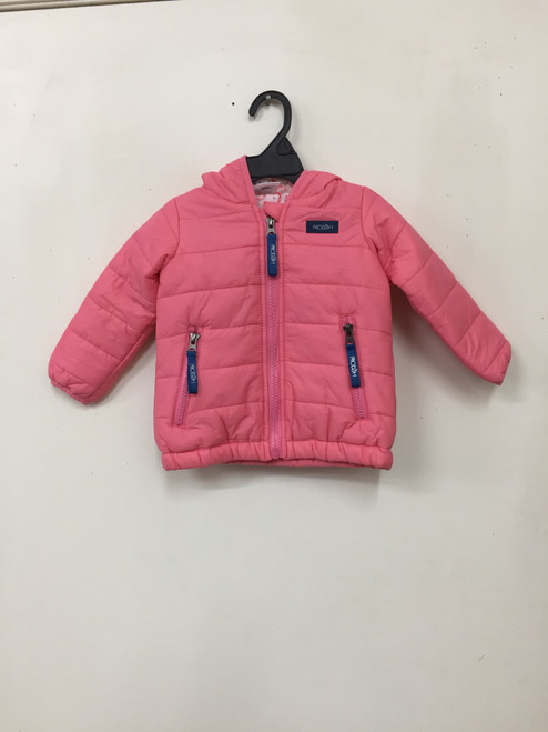 Girl's Hooded Puffer Jacket with Shrimp Print Line