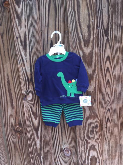 Little Me    Sweat shirt  Set Green Stripe 2 PC