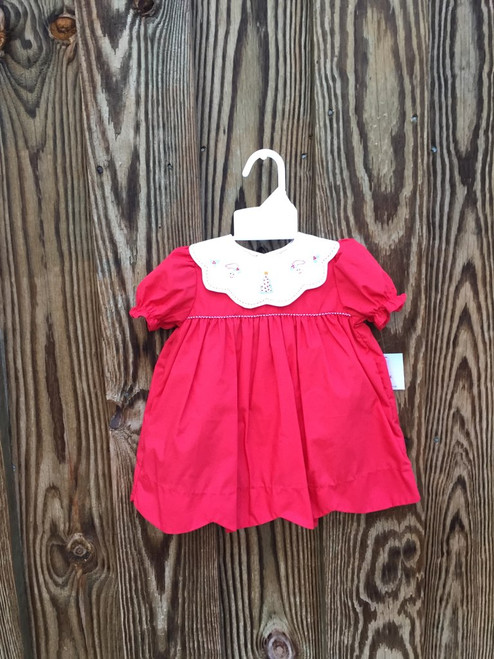 Petit Ami  Christmas embroidered scalloped dress