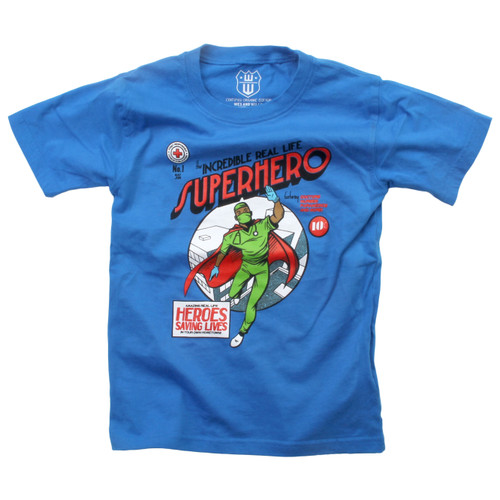 Wes and willy  Super Hero S S Tee Blue