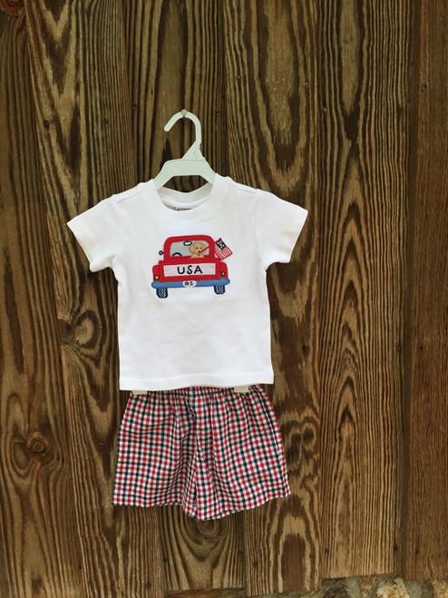 Cotton Kids  Tee & Short Set Red White Blue  Boys