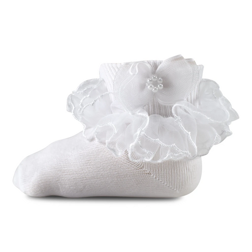 GIRL'S PAGEANT LACE TUTU ANKLET- PEARL BOW 1451