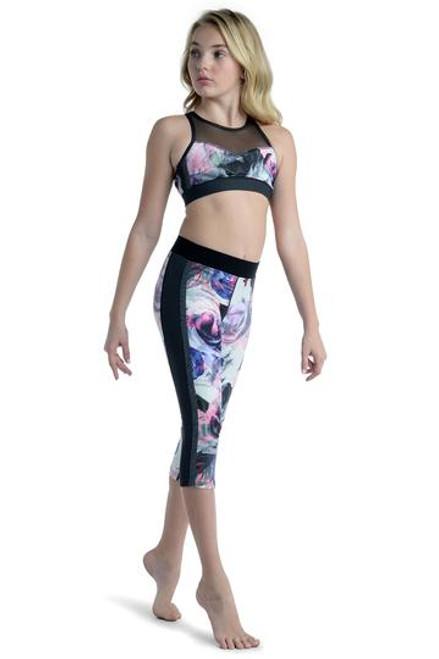 Danzn Motion  Rose Print Top & Legging  Black